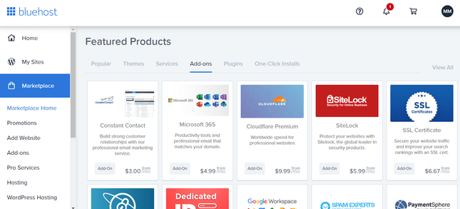 using bluehost additional products