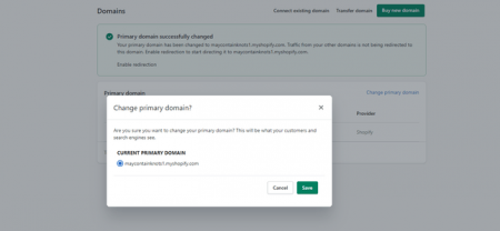 shopify change primary domain