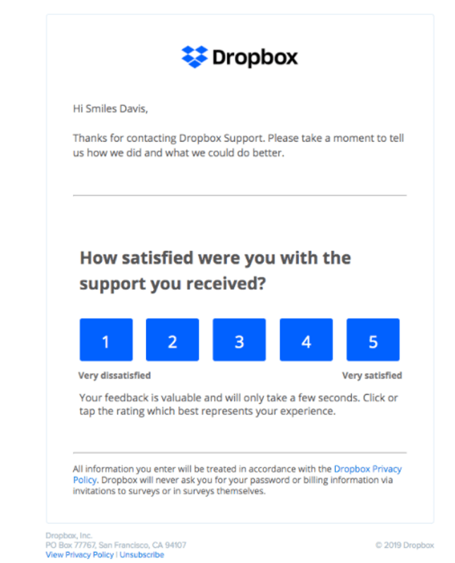 Dropbox Review Email Example