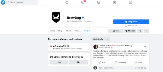 Facebook Review Brewdog