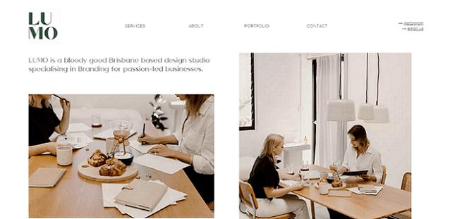 lumo design studio website built using editor x