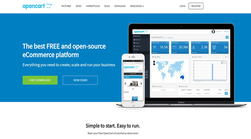 opencart self hosted ecommerce software