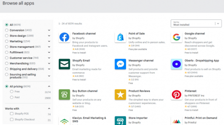 shopify ecommerce software app store