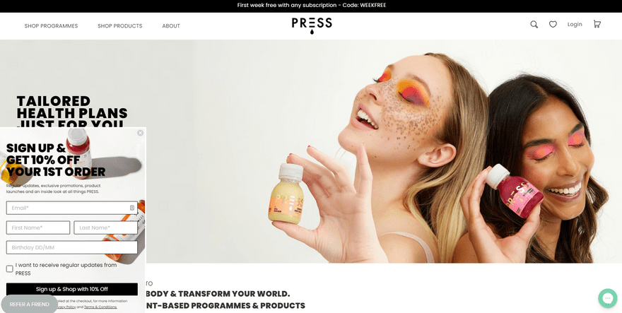 press london shopify homepage example