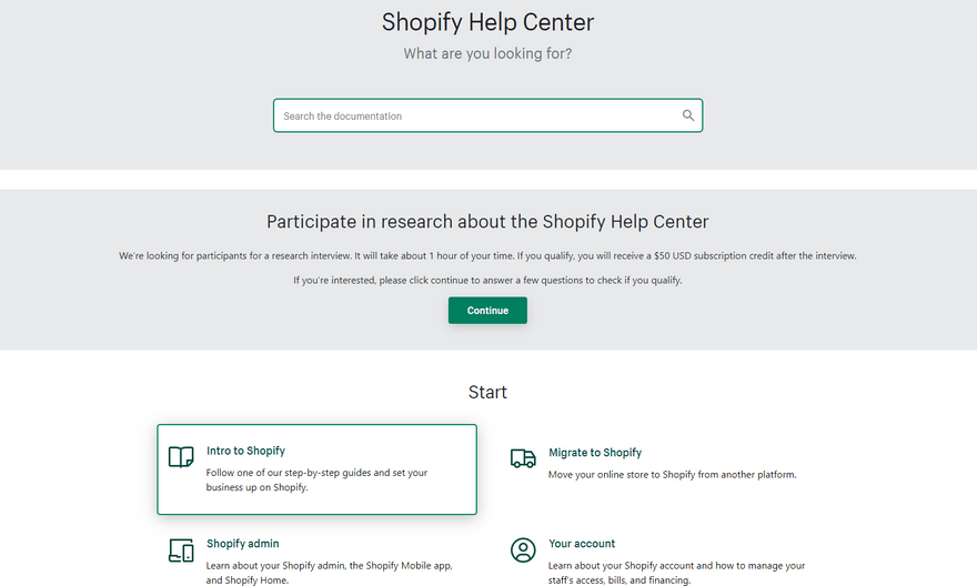 shopify help center ecommerce software