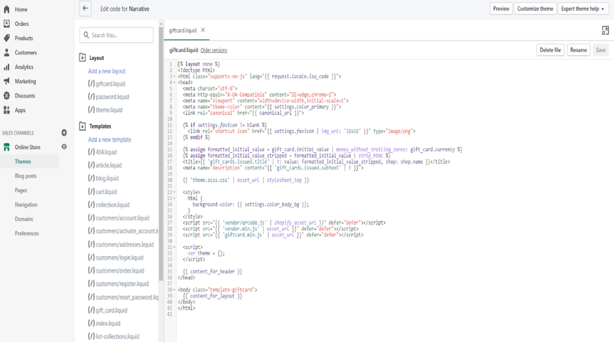 Shopify Edit Code