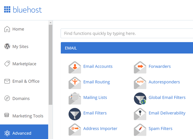 bluehost account dashboard