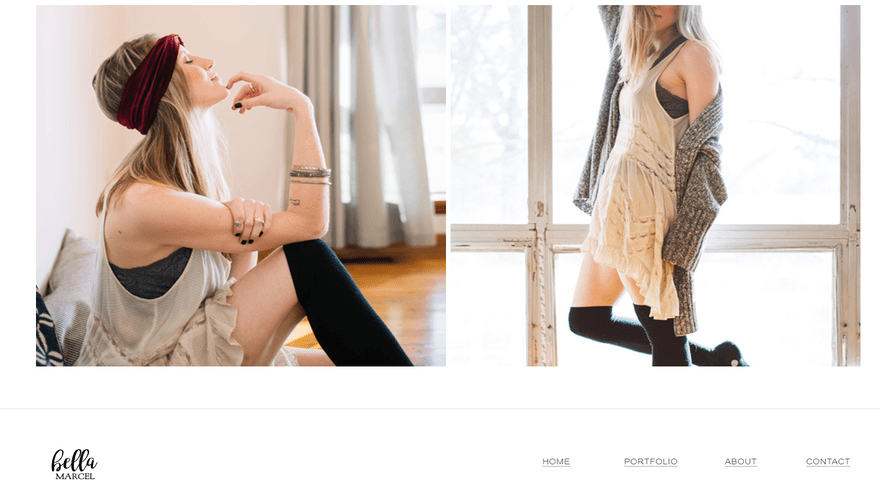 weebly personal theme bella marcel footer