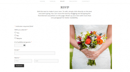 weebly events theme john and maggy rsvp page