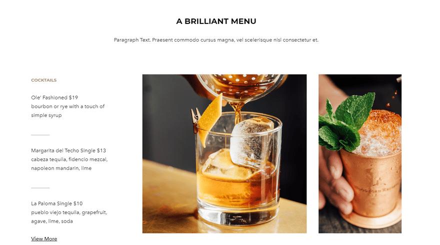 weebly restaurant theme urbandine menu 1