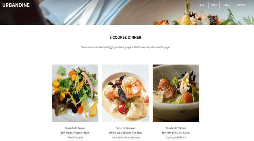 weebly restaurant theme urbandine menu 2