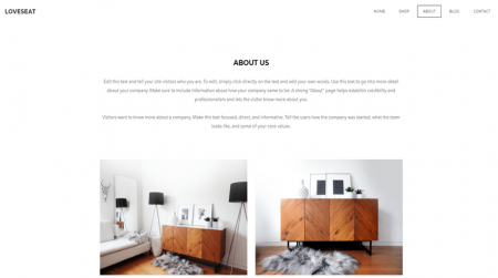 weebly online store theme loveseat about