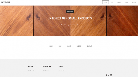weebly online store theme loveseat contact details