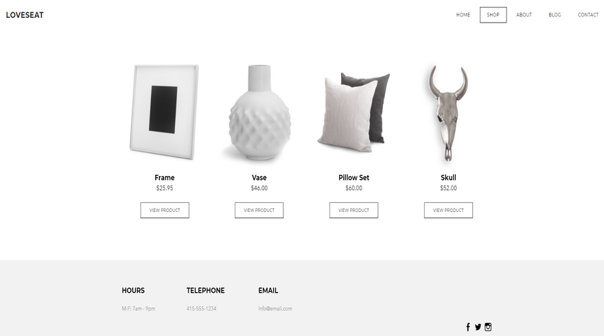 weebly online store theme loveseat shop page