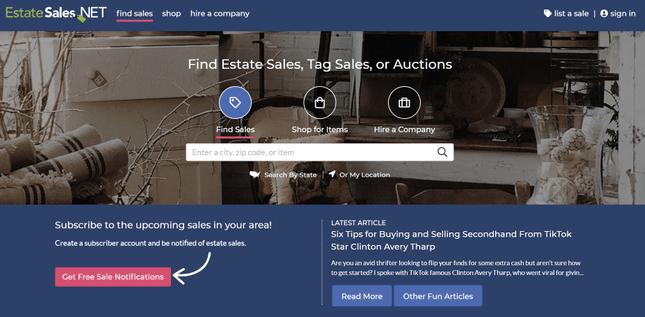 Estate Sales website to procure books