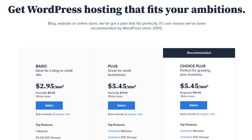 bluehost best cpanel hosting wordpress plans