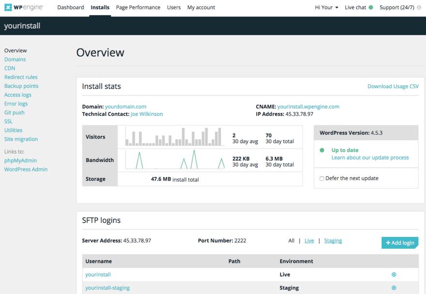 WPEngine control panel User Portal