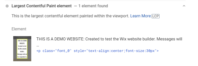 wix demo site LCP pagespeed identifier
