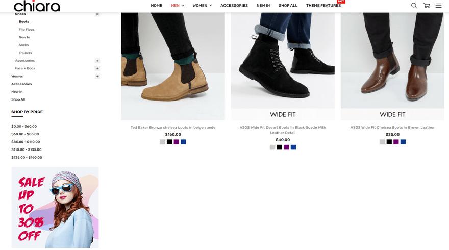 bigcommerce chiara fashion theme product page sidebar