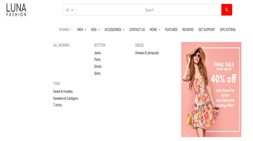bigcommerce fashion luna warm menu