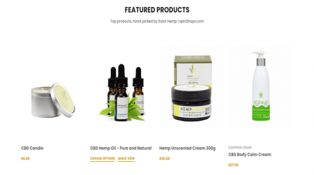 bigcommerce health and beauty solar hemp featured products