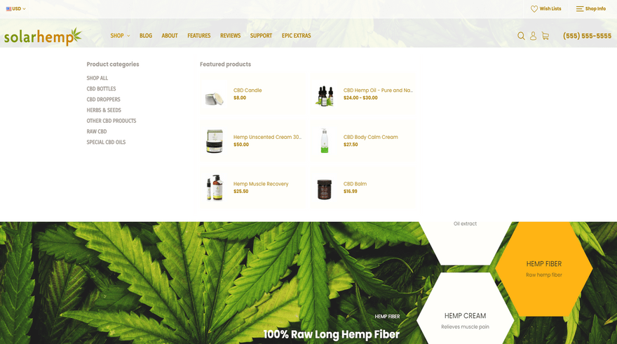 bigcommerce health and beauty solar hemp menu