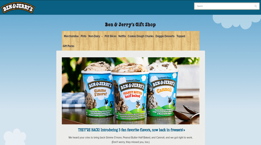 bigcommerce store example ben and jerrys