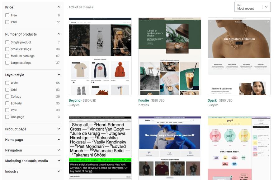 square online vs shopify theme library