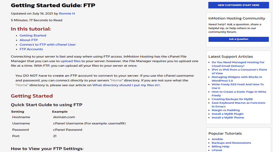 best ftp hosting inmotion hosting support