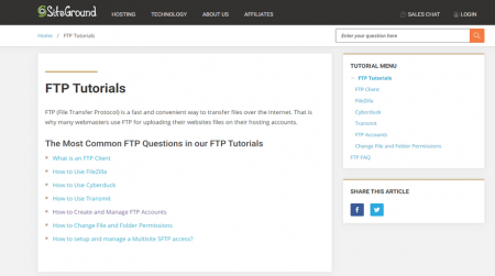 siteground ftp hosting support