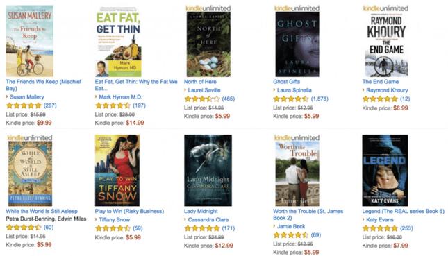 Book listings on Amazon