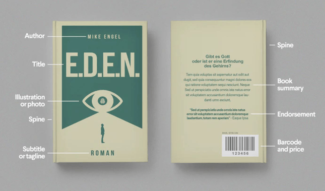 Example of details on the front and back cover of a book