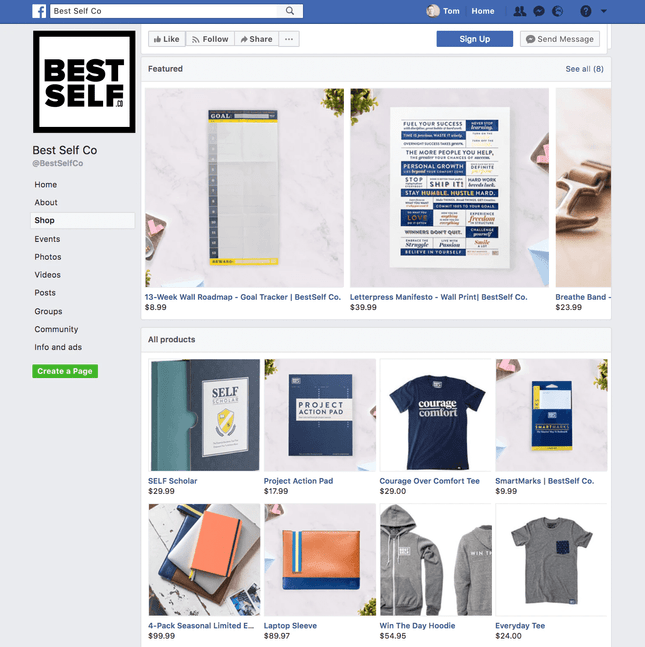 Example of selling products on Facebook