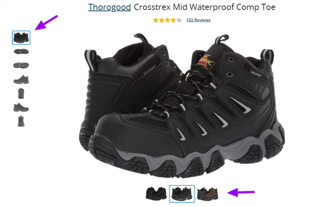 Example of shoe photos from Zappos
