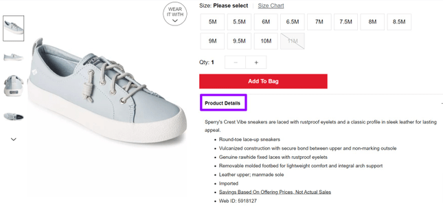Example of shoe description from Macy's