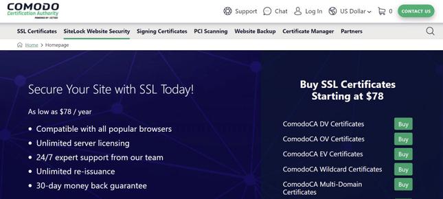 Comodo SSL website homepage
