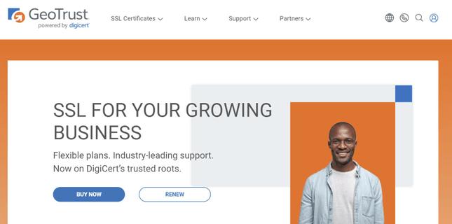 GeoTrust SSL website homepage