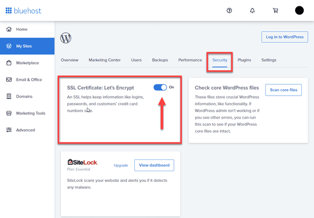 Switching on SSL certificate in Bluehost Security tab
