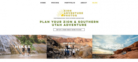 Zion Adventure's homepage has a dynamic, energetic vibe