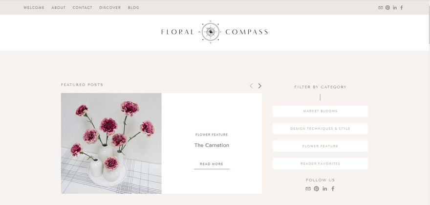 The Floral Compass homepage is as elegant as they come