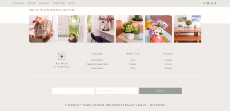 The Floral Compass footer utilizes a beautiful photo gallery