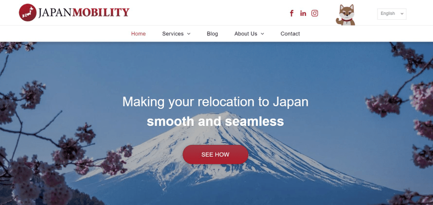 Japan Mobility's header uses stunning visuals to appeal to visitors.