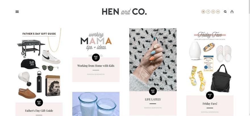 HEN & CO's homepage looks like Pinterest.