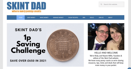 Skint Dad's homepage grabs attention with a special offer and author bio.
