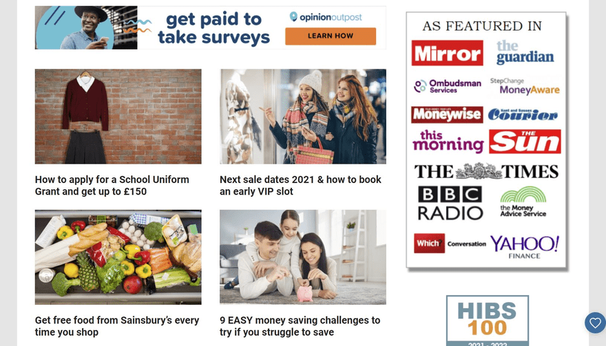 Skint Dad's blog posts are arranged in a nice grid.