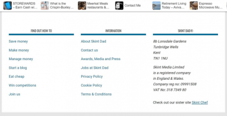 Skint Dad's footer area helps explore categories and builds trust with contact information.