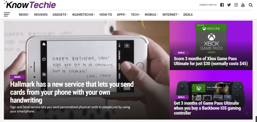 KnowTechie homepage grabs attention with a featured post.