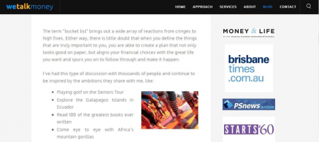We Talk Money blog posts enhance readability with simple typography.