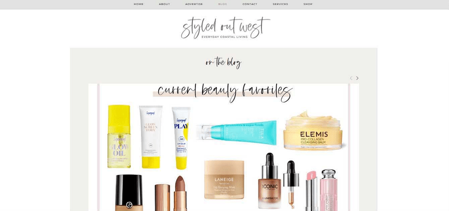 Styled Out West homepage draws the reader in.