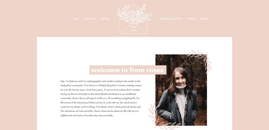 From Roses's author photo blends perfectly with the blog's color scheme.